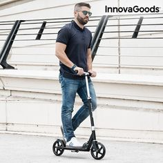 """--- INNOVAGOODS URBAN SCOOTER PRO --- #innovagoods #urban #scooter #pro ---DESCRIPTION: Move around town comfortably with the new and practical InnovaGoods Gadget Cool urban scooter Pro! Made of aluminium and steel Handlebar with foam grips Adjustable height (3 positions 87-95-103 cm approx) Footplate with non-slip surface 2 PU wheels (8"""") Rear break Built-in stand Light-weight and foldable design Easy to transport, assemle and store Includes 2 Allen keys Max. weight supported: approx. 100kg"""
