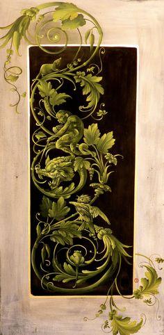 Hand painted panel Barbara Maldini