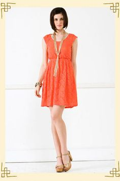 Lacy Coral Dress from Francesca's