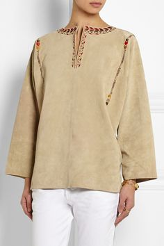 Isabel Marant | Marvin oversized embroidered suede top | NET-A-PORTER.COM
