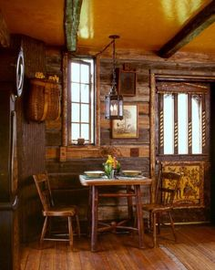 Rustic Swedish log cabin. Inspiration for western decorating. Designed by Miller Architects, PC.   Stylish Western Home Decorating