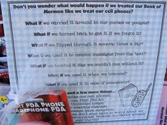 Scriptures -  YW Handout Treat them better than our cell phones