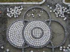 """Portuguese cobblestone in progress. Patio Design, Garden Design, Outside Flooring, Cobblestone Driveway, Recycled Concrete, Rock Pathway, Crazy Paving, Garden Pavers, Paving Pattern"