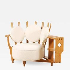 Guillerme et Chambron - Oak Corner Armchair by Guillerme and Chambron for Votre Maison, offered by Jasper Maison on InCollect Art Furniture, Wool Fabric, Accent Chairs, Restoration, Armchair, Upholstery, Mid Century, House, Design