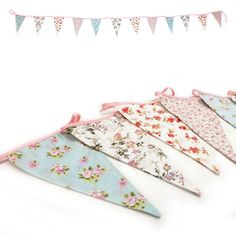 Vintage Floral Fabric Flag Bunting Garland Shabby Chic Tea Party Banner 3.15m #AllOccasions