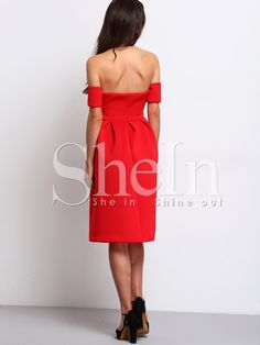 1dc507d62a9cd Shop Red Short Sleeve Off The Shoulder Dress online. SheIn offers Red Short  Sleeve Off The Shoulder Dress & more to fit your fashionable needs.