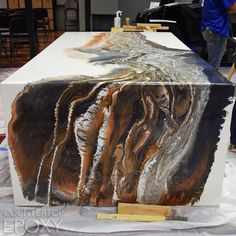 What do you think about this seamless epoxy waterfall edge? We poured this durin… What do you think about this seamless epoxy waterfall edge? We poured this during our Intro Epoxy Resin Workshop this week, and we're…