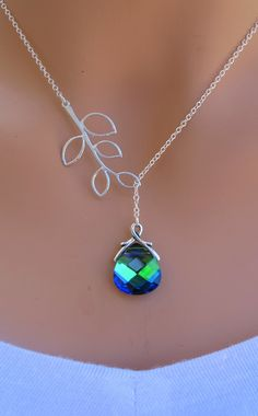 @Megan Nunan Bannister.  this is pretty too and bring more green to your ensemble!  lol.  Peacock, Aqua Sphinx and Branch sterling silver Swarovski Briolette necklace. Bridal. Wedding. Bridesmaids Gift..via Etsy.