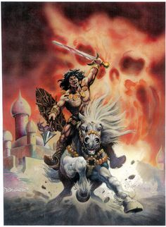 It was also used as a limited edition print and later as the cover to Conan Saga #31. Description from tri-stateoriginalart.com. I searched for this on bing.com/images