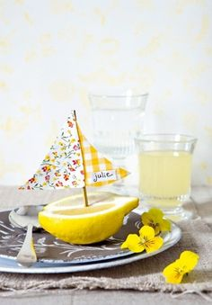 Lemon sailboat place cards ~ could make a variation of this for a beach/nautical themed party, shower, wedding, children's birthday, etc