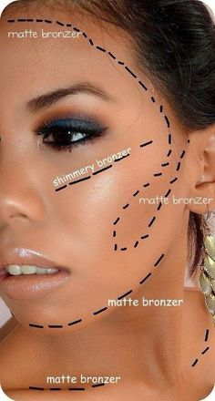 Matte & Shimmer bronzer placement. For the Beachfront Bronzed look.