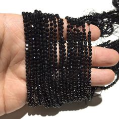 Pack of 10 strand Gorgeous Black Spinel faceted round beads size 3.5mm sold per 14-inch strand 100/% natural