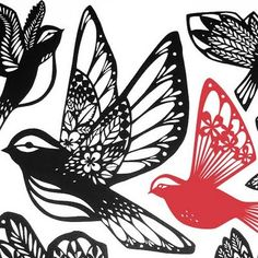 print & pattern: DESIGNER - emily hogarth Fairy Templates, Paper Art, Paper Crafts, Origami And Quilling, Silhouette Cameo Tutorials, Paper Birds, Bird Silhouette, Pop Up Cards, New Tattoos