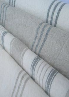 Beautiful linen stripes - perfect for coastal style ! Use for dining chairs Beach Cottage Style, Coastal Cottage, Coastal Homes, Beach House Decor, Coastal Style, Coastal Decor, Home Decor, Coastal Curtains, Coastal Fabric