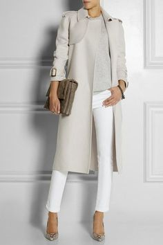 A grey trenchcoat and white slim trousers are a combination that every stylish girl should have in her wardrobe. For the maximum chicness opt for a pair of grey python leather pumps.   Shop this look on Lookastic: https://lookastic.com/women/looks/trenchcoat-crew-neck-sweater-skinny-pants/18151   — Grey Crew-neck Sweater  — Grey Trenchcoat  — Brown Suede Clutch  — Dark Brown Bracelet  — White Skinny Pants  — Grey Snake Leather Pumps