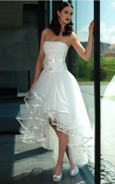 Gorgeous A-line Strapless Tulle Short Wedding Dresses