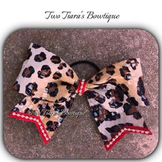 """Leopard Cheer Bow trimmed in red and diamonds 3"""" ribbon on Etsy by Two Tiara's Bowtique"""
