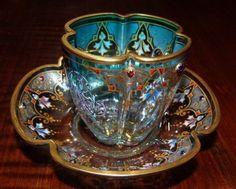 1875+ Moser Crystal Demitasse Cup & Saucer in Clear to Teal - Non-Leaded Crystal & Gilding - Excellent Condition