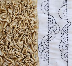 Designer says I have manipulated fabrics and created textures for cushion covers bags etc and patchwork concepts I have used techniques like ruffles gathers puffs embroidery patchowrk tucks pleats whole idea was to let the fabric change its prop Fabric Manipulation Tutorial, Textile Manipulation, Fabric Manipulation Techniques, Textiles Techniques, Embroidery Techniques, Sewing Techniques, Smocking Tutorial, Smocking Patterns, Sewing Patterns