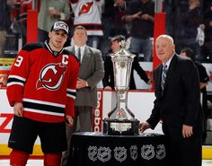 Captain Parise avoids touching the Prince of Wales trophy after winning the Eastern Conference.