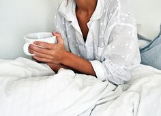 Coffe + cute pjs in bed.