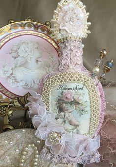 Whimsical fabric perfume bottle stickpin holder/pin cushion