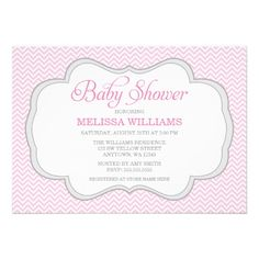 A soft pink chevron pattern with a gray frame is featured on this chic baby girl shower invitation.