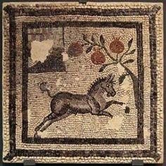 Villa Fortunatus, Zaragoza Museum, Spain. Roman mosaic. Horse and pomegranate.