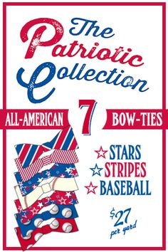 The Patriotic Collection: 7 Cut & Sew Bow-Ties, fabric designed by J. Thomson. Lavaguy.com #spoonflower #bowties