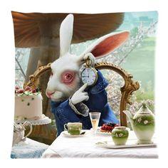 """Rabbit Alice im Wunderland """", mit Reißverschluss, Kissen, Kissenbezug, 18 x 18 Zoll (Zwei Seiten)"""