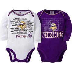 ffd8a8e45 Vikings Baby Two Pack Long Sleeve Bodysuits Minnesota Vikings