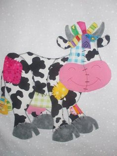 Cow applique Quilt Baby, Baby Quilt Patterns, Boy Quilts, Girls Quilts, Applique Patterns, Mini Quilts, Applique Quilts, Quilting Projects, Quilting Designs