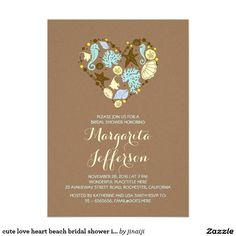 cute love heart beach bridal shower invites Cute beach bridal shower invitations with starfish, turquoise sea corals, sea glass, yellow sand dollars, blue seashells, seahorses and ... love heart!Cute and modern bridal shower invite for celebration on the beach. -------Please contact me if you have question regarding this design or have a custom color request. ----------- If you push CUSTOMIZE IT button you will be able to change the font style, color, size, move it etc. it will give you more…