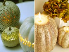 CARVE OUT A GOURD AND PLACE A CANDLE INSIDE TO MAKE THE CANDLE HOLDERS THAT STAND OUT!