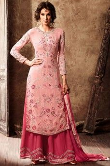 Peach and Pink Heavy Designer Partywear Georgette Plazzo Salwar Suit