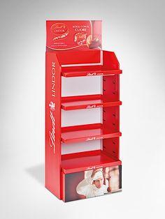 Displaylösung für verschiedene Produktelinien/Marken und Saison-Aktionen. Zum Beispiel Lindorkugeln für Valentinstag, Weihnachten, Ostern jeweils mit anderen Drucksujets. • #Dinkhauser #Wellpappe #Karton  #Display  #POS