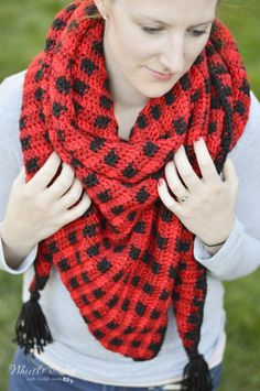 Crochet Plaid Triangle Scarf - Whistle and Ivy