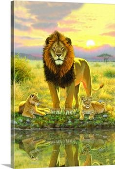 Chris Hiett Premium Thick-Wrap Canvas Wall Art Print entitled Lion and Twins portrait, None
