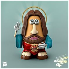 Digital artist Nacho Tamez of Media Bullys brings us this series of Mr. Potato Heads dressed like famous people. Nacho (the artist, NOT the chips and Mr Potato Head, Potato Heads, Toy Story, Kitsch, Pixar, Religious Humor, Religious Images, Popular Toys, Darth Vader