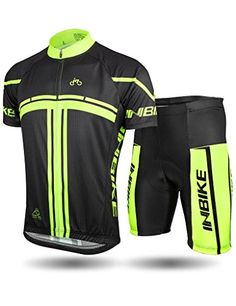 INBIKE Mens Cycling Jersey Set Short Sleeve Breathable Suits Padded Shorts  for Summer Riding Black XL e1cad6c07