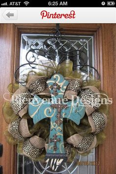 Im Not Sure About The Cross In Middle Maybe A Different Color Design But I Do Like Burlap And Animal Print Wreath With