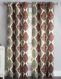 VCNY Ana-Rita Room Darkening Blackout Curtains Grommet Thermal 2 Panel Set, Red and Taupe Damask - Length Blackout Panels, Blackout Windows, Blackout Curtains, Damask Curtains, Grommet Curtains, Window Panels, Window Curtains, Curtain Panels, Types Of Curtains