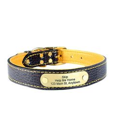 Peanut & Gold Personalized Leather Dog Collar 29.99