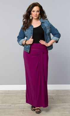 Let your style take flight in our NEW Jetsetter Maxi Skirt! Available in Orchid and in Black Noir on www.KIYONNA.COM. #MadeintheUSA #PlusSizeClothing #KiyonnaPlus