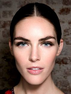 Bronzy Smoky Eye with bold brows and lipgloss at Jason Wu modeled on Hilary Rhoda
