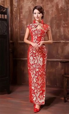 Wedding Cheongsam Brocade Red Modified Lace Bridal Qipao