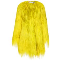 MSGM Kidassia Fur Coat ($3,565) ❤ liked on Polyvore featuring outerwear, coats, msgm, yellow, yellow coat, fur coat, oversized coats, oversized fur coat and msgm coat