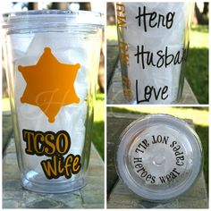Police Officer / Sheriff's Deputy Wife Tumbler by HandCraftedHC, $13.00