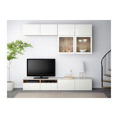 BESTÅ TV storage combination/glass doors - walnut effect light gray/Selsviken high gloss/white clear glass, drawer runner, push-open - IKEA