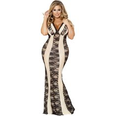 Sexy Milan Plus Size Maxi Two-Tone Gown Dress ($77) ❤ liked on Polyvore featuring dresses, gowns, plus size floral dresses, plus size evening dresses, plus size lace dress, maxi dresses and floral print maxi dress